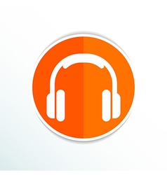 Headphone icon music isolated hear funky white vector