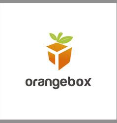 healthy food box logo design idea vector image