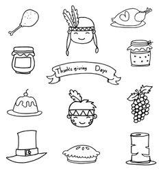 Icon thanksgiving element on doodles vector