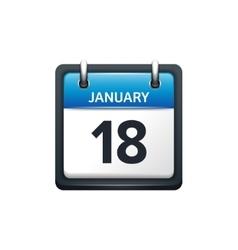 January 18 Calendar icon flat vector