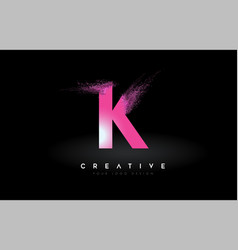 K letter logo with dispersion effect and purple vector