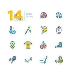 Kinds of sport - thick line icons set vector