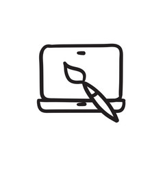 Laptop and brush sketch icon vector