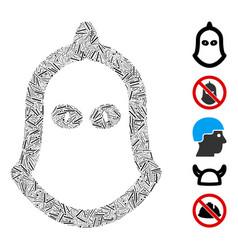 Line collage executioner helmet vector