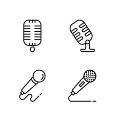 line microphone icons set on white background vector image