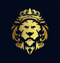 lion head gold crown logo ornaments vector image