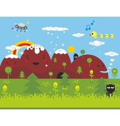 Little black cat ln the wonderful place vector image