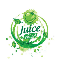logo splashes green apple juice on white vector image