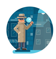 Magnifying glass mask spy detective cartoon vector