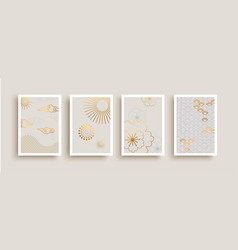 Minimalist gold line asian art poster collection vector
