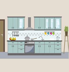 Modern kitchen interior in flat style vector