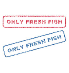 Only fresh fish textile stamps vector