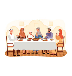 people are eating kosher food at home arab family vector image
