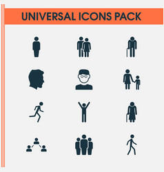 people icons set collection of old woman network vector image vector image