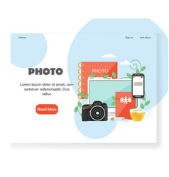 Photography website landing page design vector