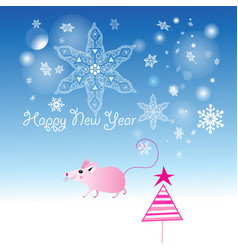 pink mouse for new year on blue background vector image