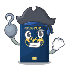 pirate blue passport in the cartoon form vector image