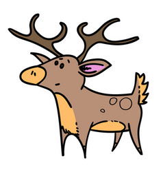 puzzled reindeer hand drawn cartoon vector image