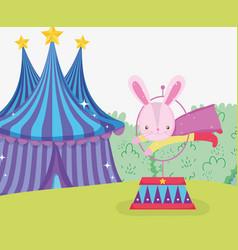 Rabbit costume jumping hoop and circus big top vector