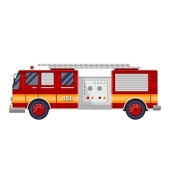 red fire truck engine on white vector image