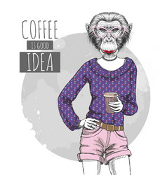 Retro hipster fashion animal monkey with coffee vector