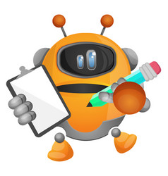 robot taking notes on white background vector image