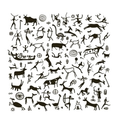 Rock paintings sketch for your design vector image