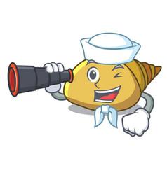 Sailor with binocular mollusk shell mascot cartoon vector