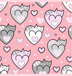 seamless pattern cats hearts on a pink background vector image