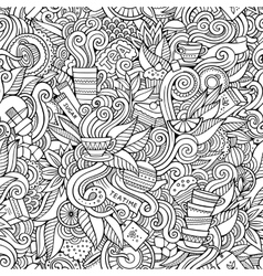 Seamless tea doodles abstract pattern vector