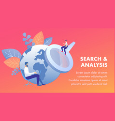 search and analysis flat banner template vector image