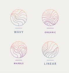 Set abstract wavy minimal organic logos vector