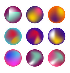 set holographic fluid circles vector image