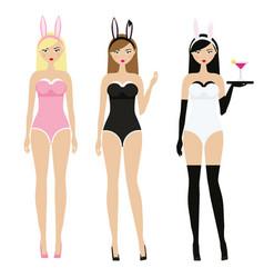 sexy women in erotic bunny ears costumes adult vector image