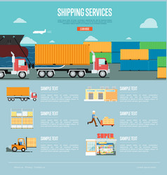 Shipping services infographics in flat style vector