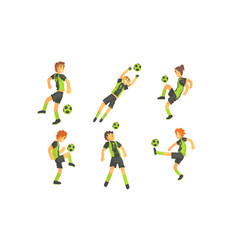 soccer players kicking ball set professional vector image
