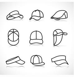 sports cap icons set vector image