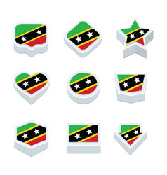 St kitts amp nevis flags icons and button set vector