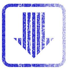 Stripe arrow down framed textured icon vector