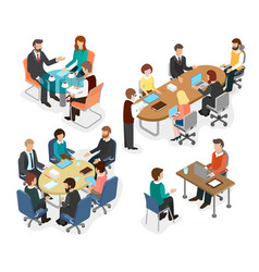 the office team discussed working questions vector image