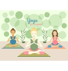 Three beautiful pregnant women practicing yoga vector image