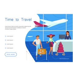Time for travel website landing template vector