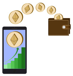 Transfer ethereum coins from phone in the wallet vector