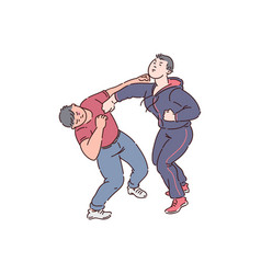 Two men fist fight vector