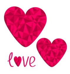 Two pink hearts Polygonal effect Love card Isolate vector image