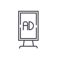 vertical billboard advertising line icon vector image