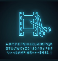 Video editing software neon light icon vector