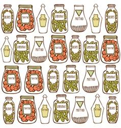 Vintage food hand drawn patterns vector image vector image