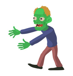 Walking zombie icon cartoon style vector
