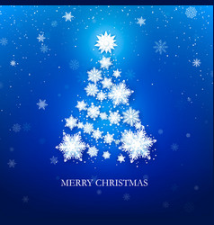 white snowflake christmas tree on blue background vector image